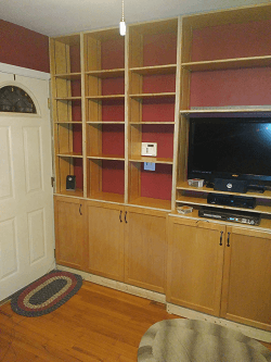 Left cabinet doors installed.